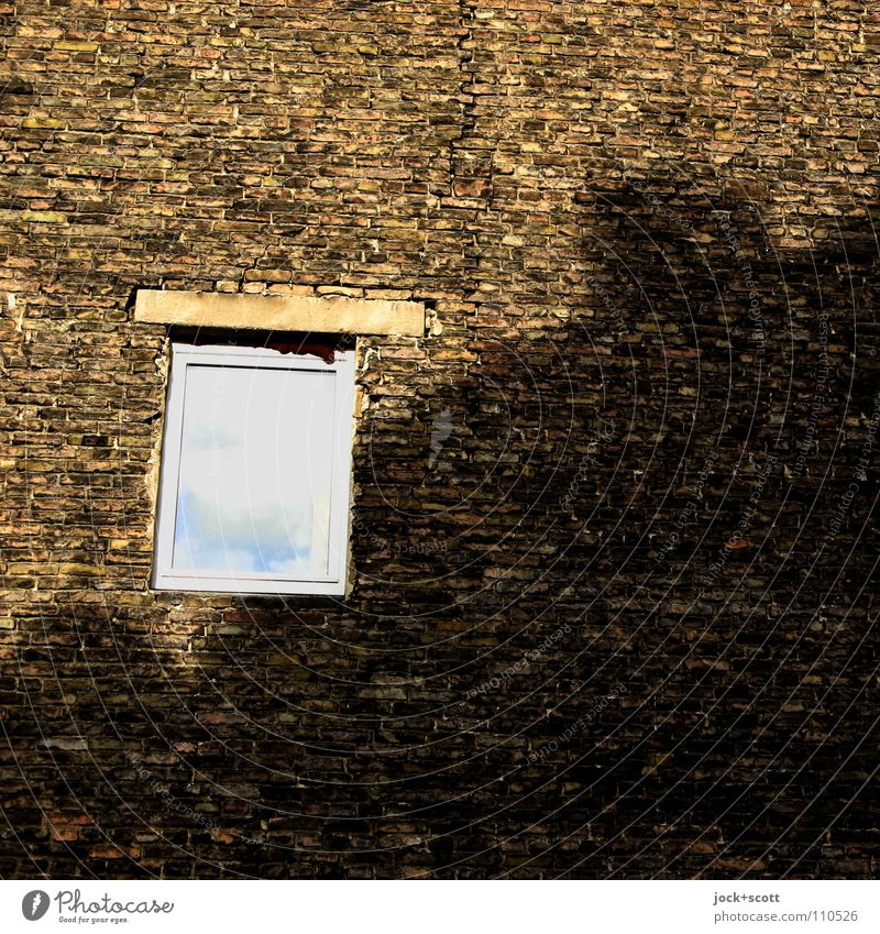 City Clouds Window Building Time Brown Facade Esthetic Vantage point Beautiful weather Broken Protection Planning Safety Firm Past