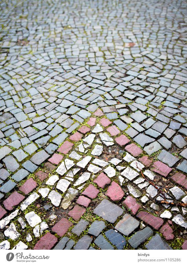 Aachen Paving Street Lanes & trails Pavement Cobblestones Arrow Stone Old Historic Original Gray Red White Senior citizen Design Network Town Decline Time