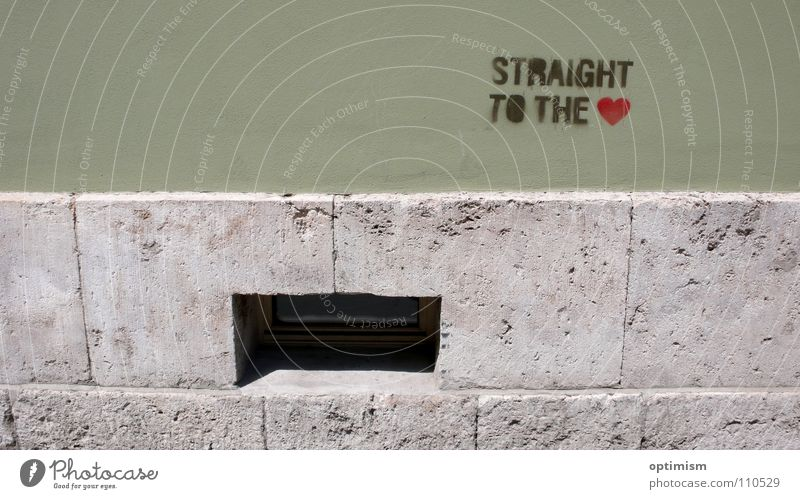 Youth (Young adults) Green City Window Wall (building) Graffiti Gray Stone Wall (barrier) Bright Dirty Heart Simple Snapshot Street art