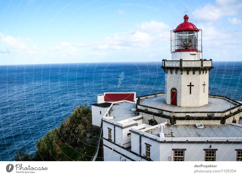 Lighthouse exactly on edge Vacation & Travel Tourism Far-off places Freedom Mountain Environment Nature Landscape Plant Summer Beautiful weather Hill Rock Waves