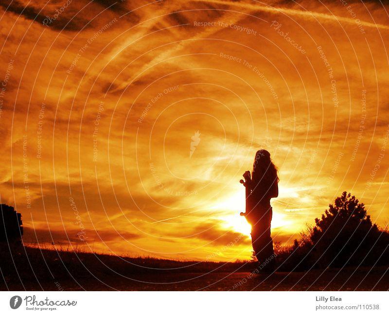 sunset Sunset Black Red Yellow Colour Autumn Fire Blaze Skateboarding Orange Sky Shadow Silhouette