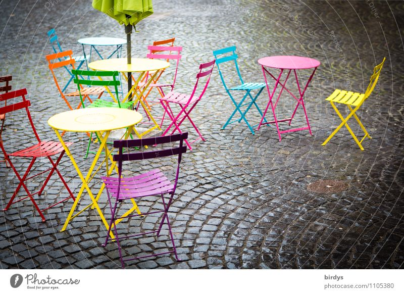 Street cafe with empty, colourful chairs and tables Lifestyle Chair Table Gastronomy Town Old town Fresh Positive Blue Yellow Pink Red Sidewalk café Sunshade