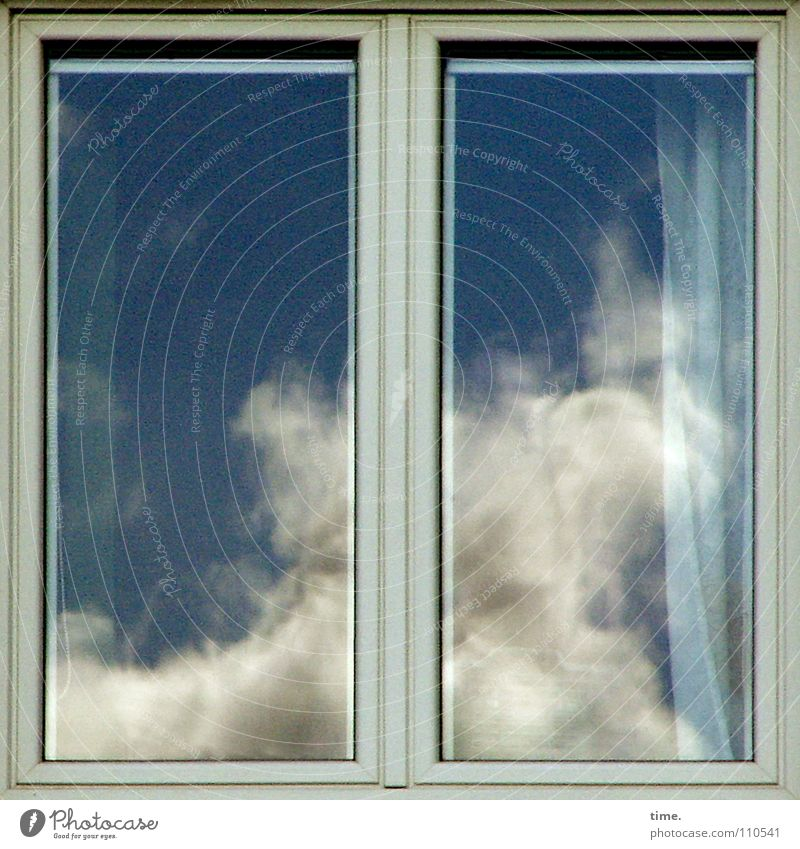 Sky Blue Clouds Window 2 Power Glass Force Drape Window pane Household Dramatic Sky blue Window frame