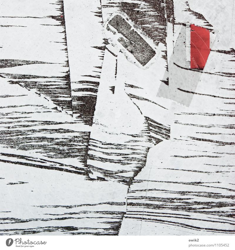fracture Work of art Red Black White Puzzle Patch of colour Remainder Adhesive tape Tracks Colour photo Subdued colour Exterior shot Close-up Detail Abstract