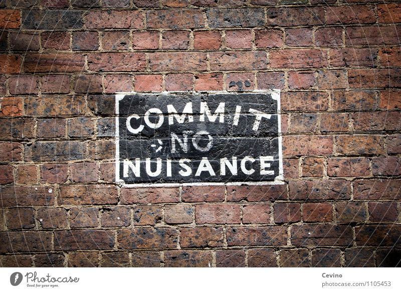 Commit no nuisance House (Residential Structure) Wall (barrier) Art Melbourne Australia Town Manmade structures Building Wall (building) Facade Stone Brick Sign