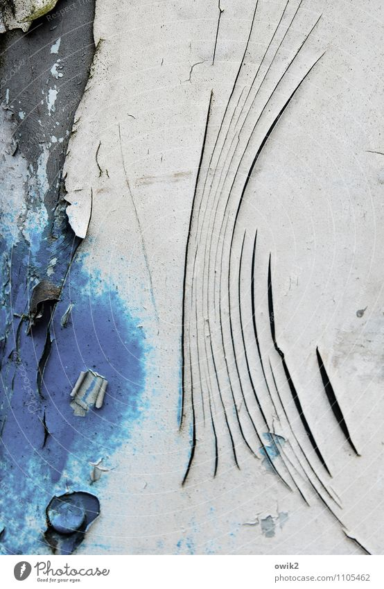 Old Blue Colour White Black Wall (building) Wall (barrier) Gray Line Metal Gloomy Transience Broken Dry Decline Crack & Rip & Tear