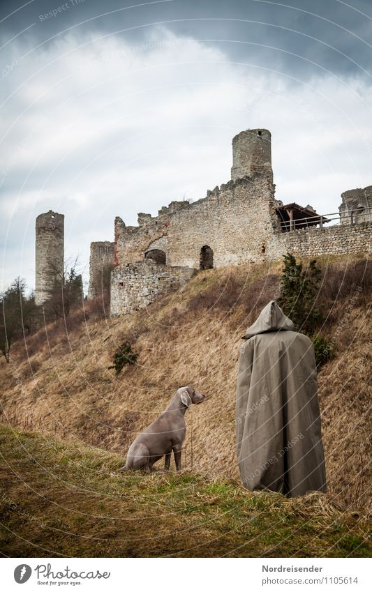 Shepherd or monk.... Human being 1 Grass Castle Ruin Manmade structures Architecture Tourist Attraction Monument Animal Pet Dog Stand Wait Dark Together Brown