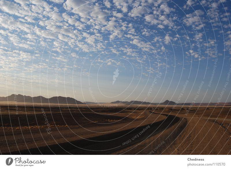 Sky Clouds Far-off places Street Mountain Sand Landscape Bushes Africa Desert Asphalt Beach dune Tar Namibia Scrap Wisp of cloud