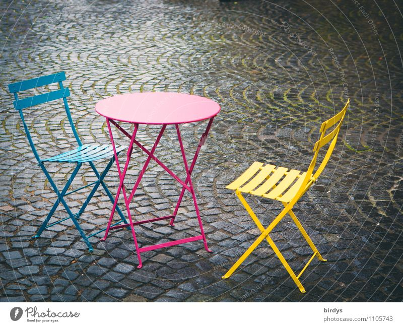 Colorful empty chairs and tables in a street cafe. Lifestyle Style Chair Table Going out Sidewalk café Wait Esthetic Friendliness Fresh Hip & trendy Positive