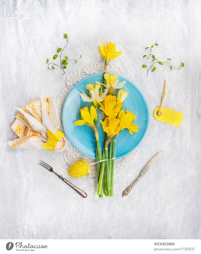 Easter table decoration with daffodils and eggs Banquet Crockery Plate Cutlery Style Design Flat (apartment) Interior design Decoration Table Kitchen Event