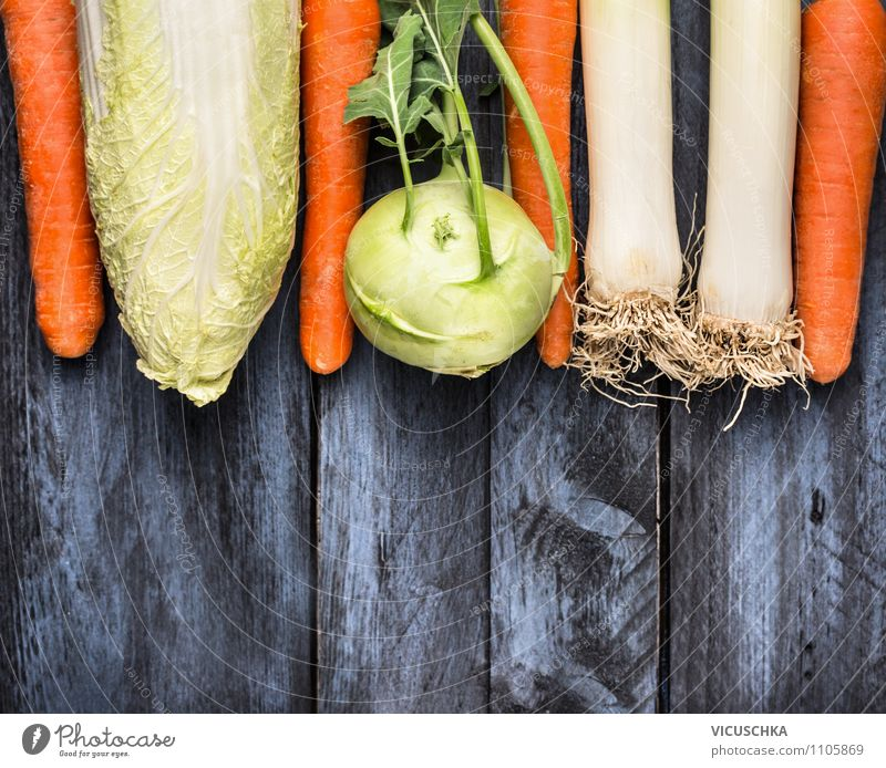 Vegetables on blue wooden table Food Nutrition Lunch Organic produce Vegetarian diet Diet Style Design Healthy Eating Garden Background picture Kohlrabi Carrot