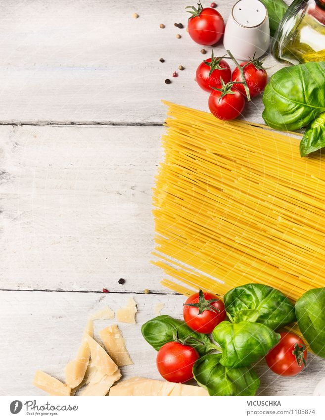 Cook spaghetti, ingredients on white wooden table Food Vegetable Dough Baked goods Herbs and spices Lunch Banquet Organic produce Vegetarian diet Diet