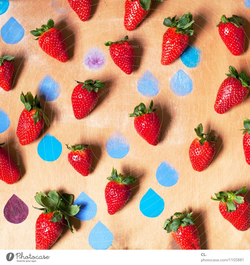 truskawki Food Fruit Strawberry Nutrition Eating Organic produce Vegetarian diet Drop Esthetic Happiness Healthy Delicious Sweet Blue Red