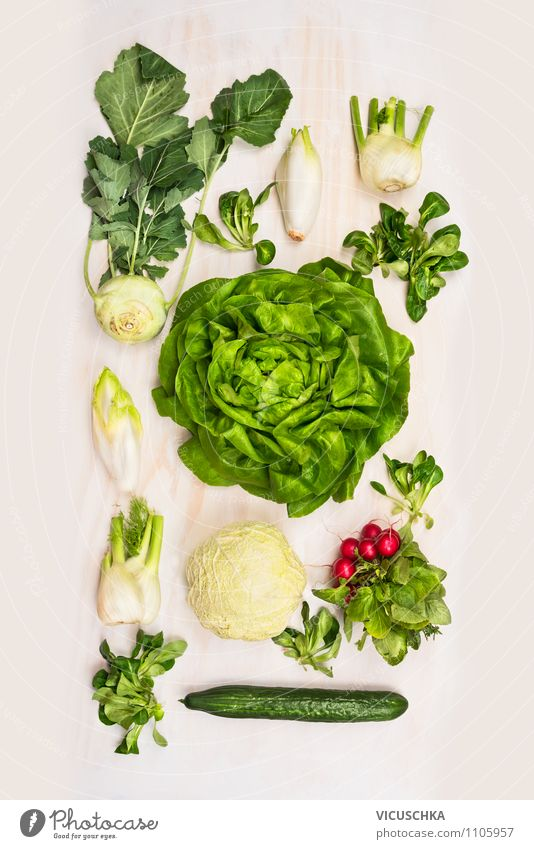 Variety of salad vegetables on a white wooden background Food Vegetable Lettuce Salad Nutrition Lunch Buffet Brunch Picnic Organic produce Vegetarian diet Diet
