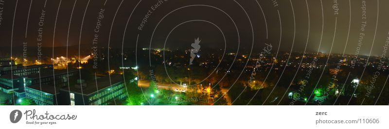 Aachen at night Panorama (View) Night Dark Light Street lighting Hill Background picture Fog Easy Lighting Lamp House (Residential Structure) Far-off places
