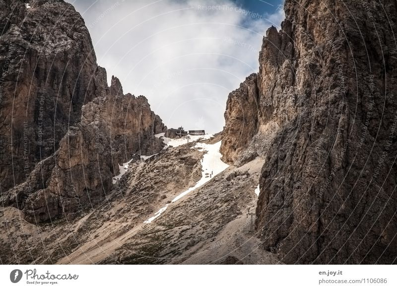 The goal Vacation & Travel Tourism Trip Adventure Summer vacation Mountain Hiking Nature Landscape Sky Spring Autumn Rock Alps Dolomites Langkofel Peak