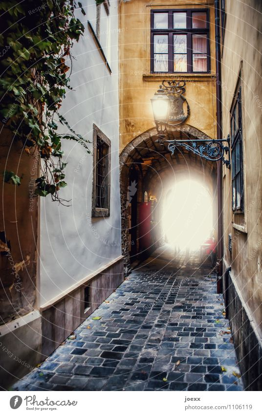 allure Budapest Old town House (Residential Structure) Wall (barrier) Wall (building) Facade Window Passage Archway Lanes & trails Cobblestones Bright Beautiful