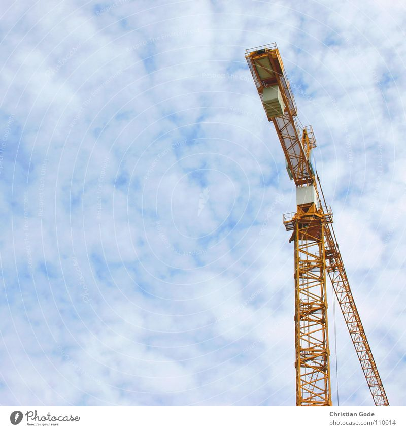 Sky Blue Clouds Yellow Work and employment Concrete High-rise Construction site Industry Craft (trade) Crane Construction worker Crane operator