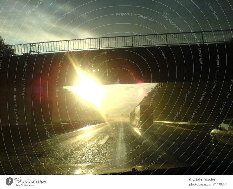 Sky Sun Street Rain Speed Bridge Truck Highway