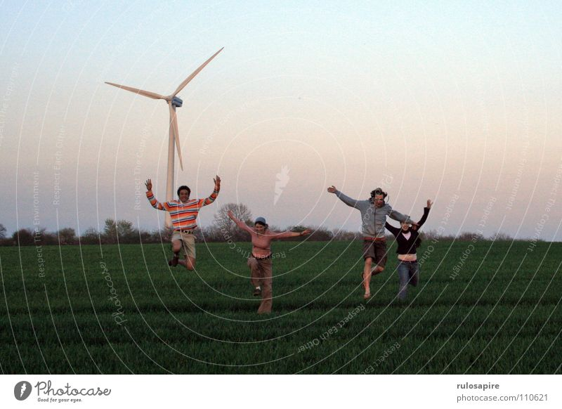 Human being Sky White Green Red Joy Meadow Jump Movement Field Wind Large Energy industry Thin Wind energy plant Dynamics