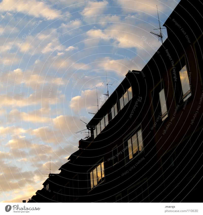 fifty-fifty Half Diagonal House (Residential Structure) Building Window Reflection Clouds Twilight Dark Antenna Roof Black Colouring Vanishing point Autumn Sky