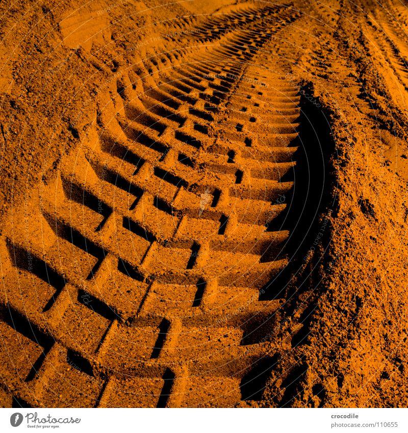 Red Dark Sand Orange Dirty Driving Tracks Truck Heavy Excavator Negative Vanishing point Gravel plant