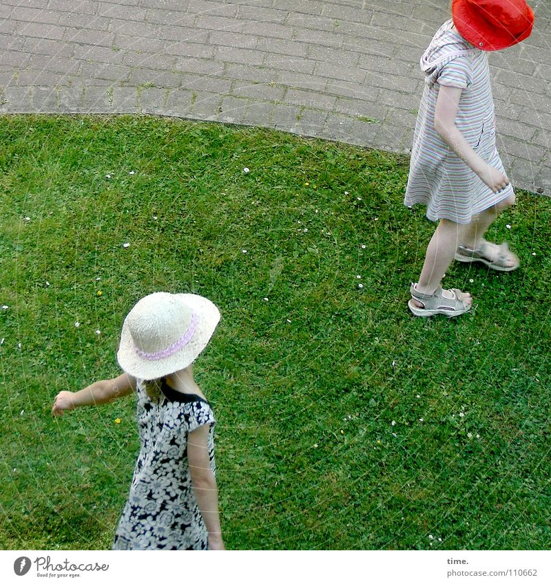 Child Girl Summer Joy Life To talk Meadow Playing Friendship Funny Near Hat Argument Traffic infrastructure Aggravation Romp