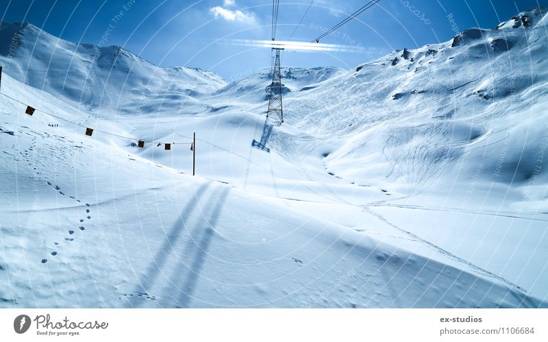 To the top Ski run Weather Snow Mountain Glacier Vacation & Travel Ischgl Multicoloured Exterior shot Deserted Light Reflection Wide angle Ski resort High Alps