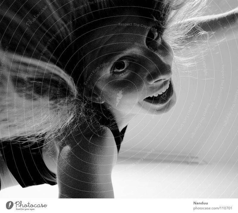 Nanduu loves you! Embrace Pushing Woman Portrait photograph Hair and hairstyles Joy Black & white photo Laughter Face Nose