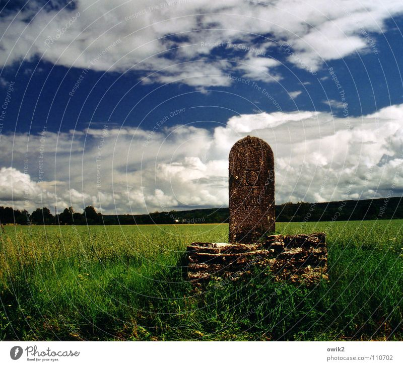 Sky Nature Old Plant Landscape Clouds Environment Meadow Grass Stone Horizon Transport Idyll Signs and labeling Climate Signage