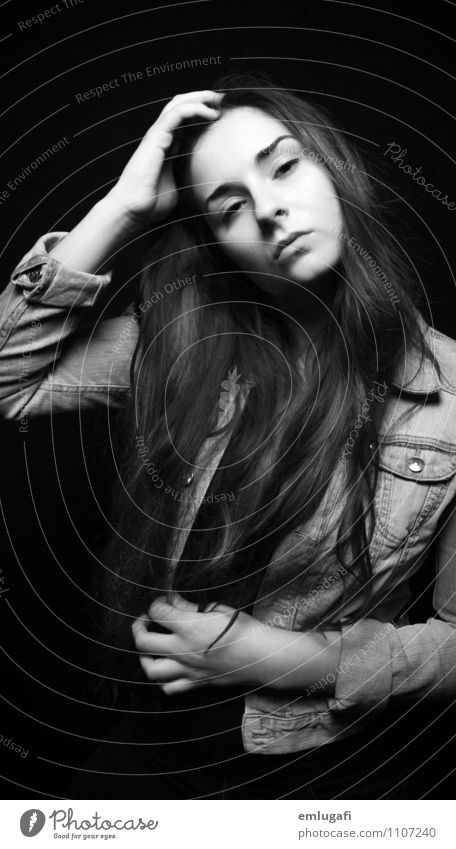 ... Feminine Young woman Youth (Young adults) Hair and hairstyles Black Self-confident Life Black & white photo Neutral Background Upper body