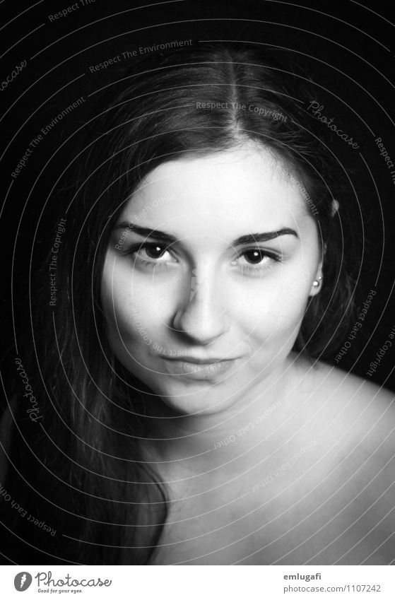 portrait Feminine Young woman Youth (Young adults) Head Face Esthetic Free Infinity Naked Black Willpower Safety Loyalty Black & white photo Neutral Background