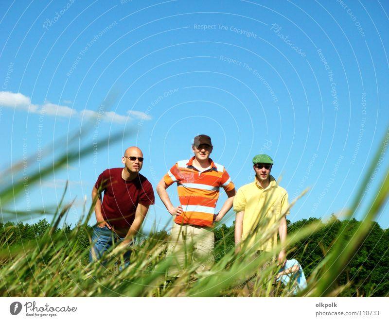Human being Sky Man Blue Green Summer Clouds Adults Meadow Grass Masculine Stand Cool (slang) T-shirt Hat Sunglasses