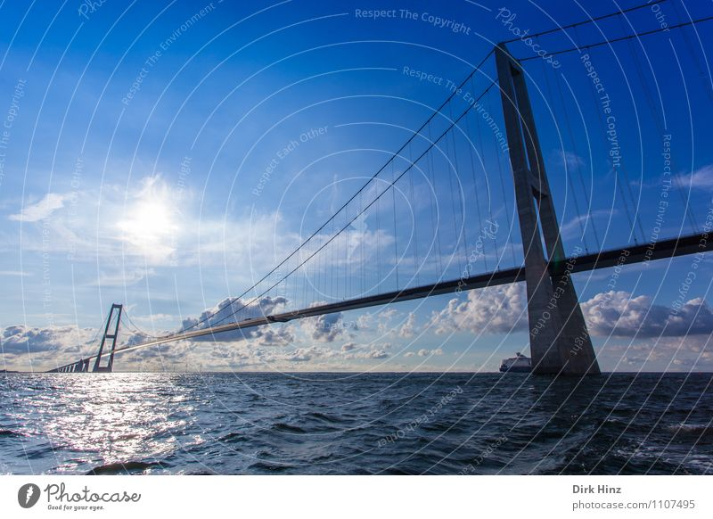Öresund Bridge Denmark Manmade structures Architecture Transport Traffic infrastructure Road traffic Motoring Vehicle Movement Horizon Innovative Perspective