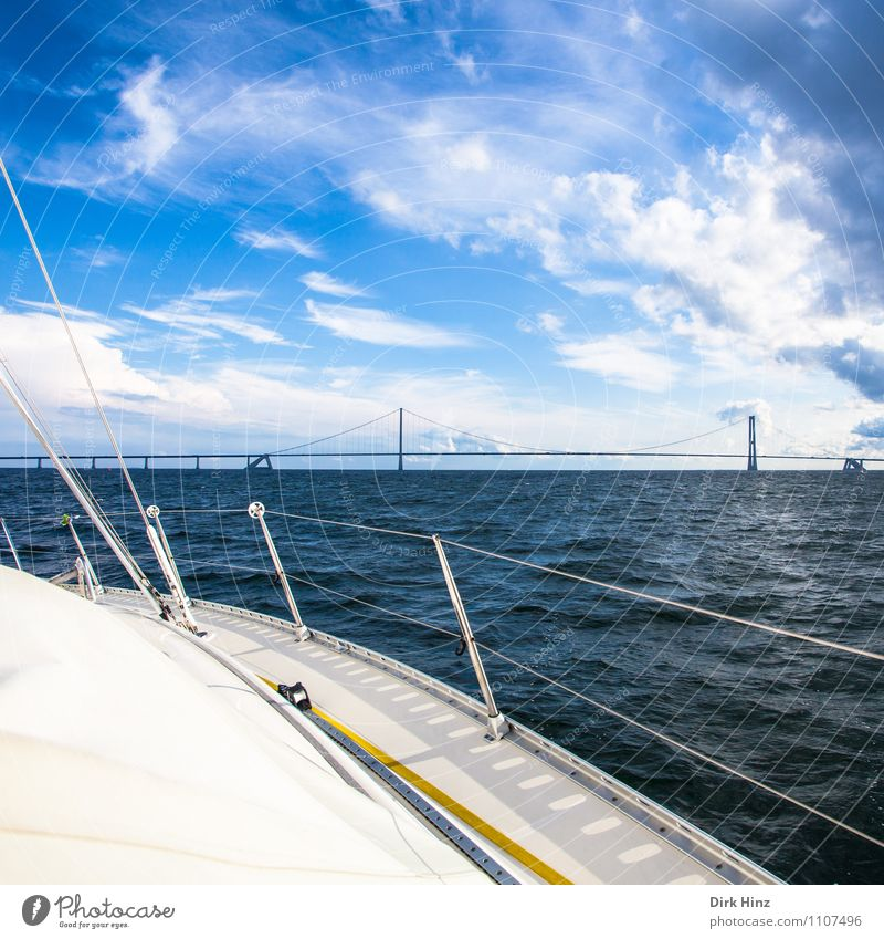 Sky Vacation & Travel Water Ocean Clouds Far-off places Movement Horizon Tourism Weather Waves Vantage point Bridge Rope Baltic Sea Manmade structures