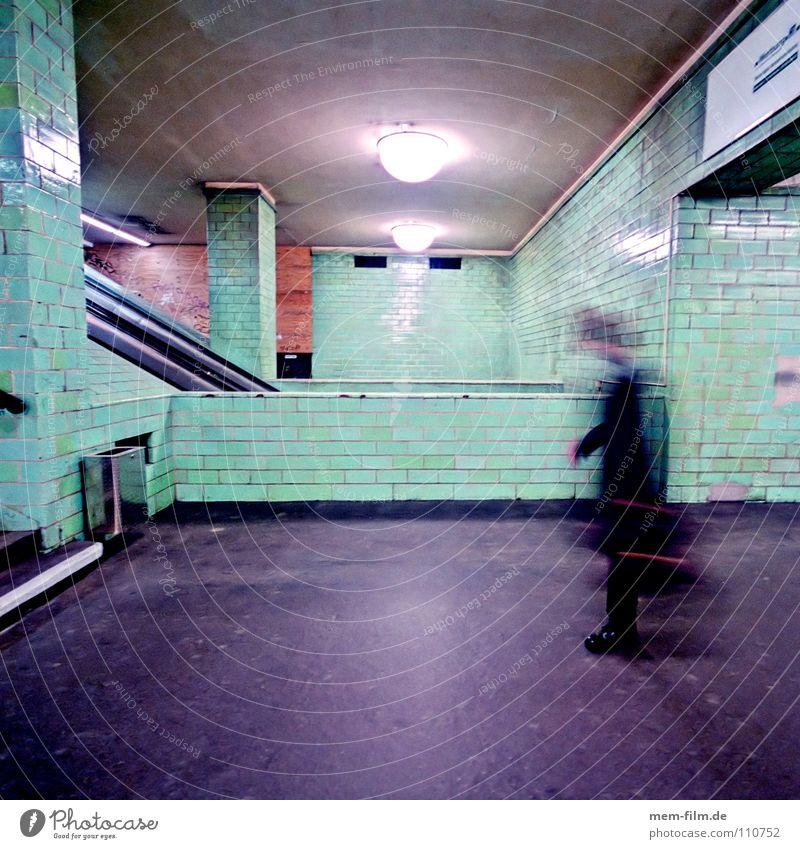 Man City Berlin Movement Fear Tile Underground Stress Panic Neon light Employees & Colleagues Passenger traffic Suitcase Subsoil Underground Pottery