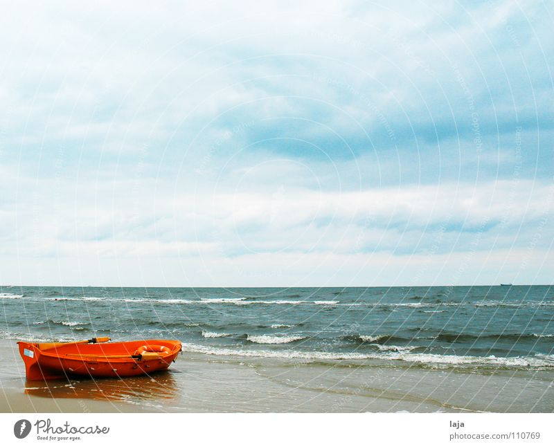 Three short, three long, three short Ocean Passion Watercraft Orange Red Rescue Safety Dinghy Beach Sky Blue Clouds Paddle Oar Wood Life belt Waves Loneliness