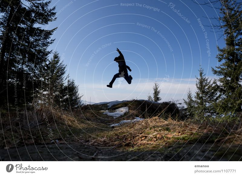 Black Forest Jump Lifestyle Joy Vacation & Travel Tourism Trip Far-off places Freedom Mountain Hiking Sports Human being Man Adults Body 1 Nature Landscape Air