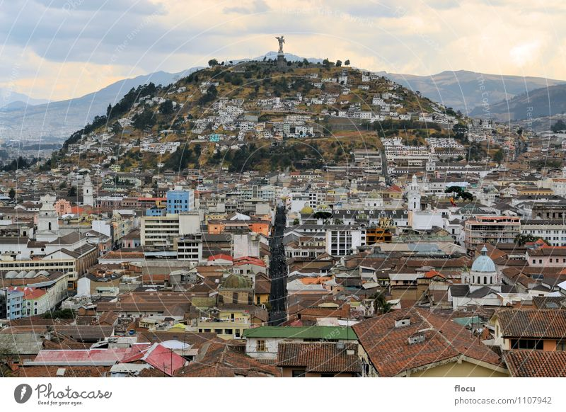 Panecillo hill over Quito's cityscape in Ecuador Vacation & Travel Business Town Downtown Religion and faith virgin panecillo metropolitan historical America