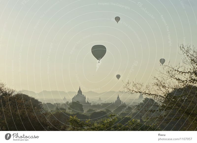 Balloons over Buddhist Temples in Bagan, Myanmar Vacation & Travel Religion and faith pagoda culture Stupa Asia heritage temple old buddhism ancient monument