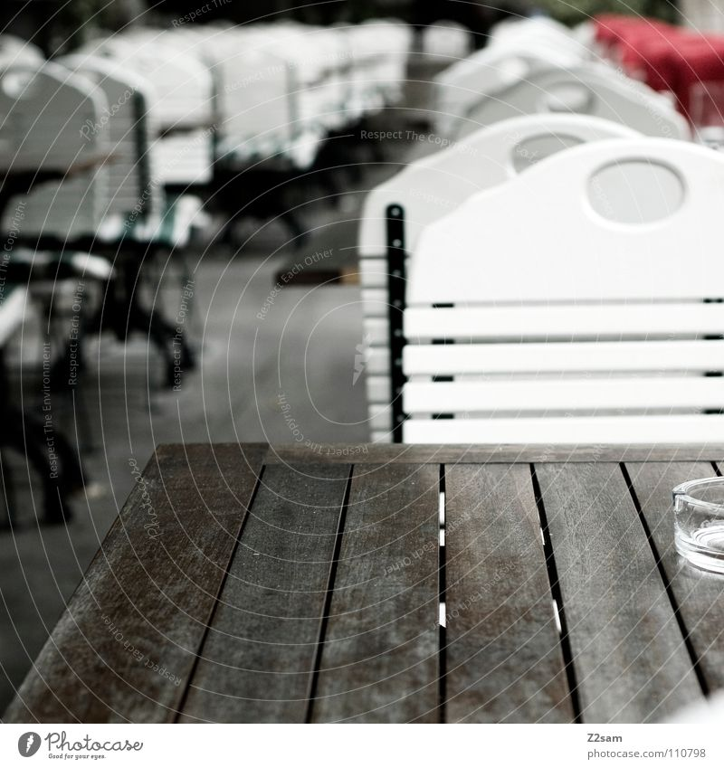 Wood Table Empty Chair Munich Gastronomy Café Row Ashtray Sidewalk café Wooden table Behind one another