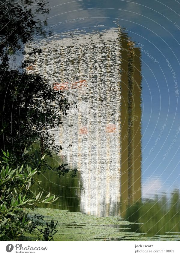 (11Pw) Panel construction in the Pfuhl Sky Summer Tree Park Pond Prefab construction Inspiration Nature Surrealism Undulating Tower block GDR Illusion