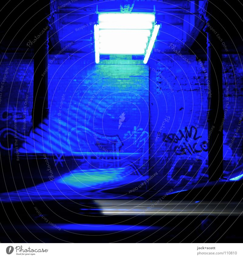 Turn blue in the tunnel Tunnel Wall (building) Graffiti Stripe Movement Cool (slang) Uniqueness Modern Speed Blue Moody Agreed Art Surrealism