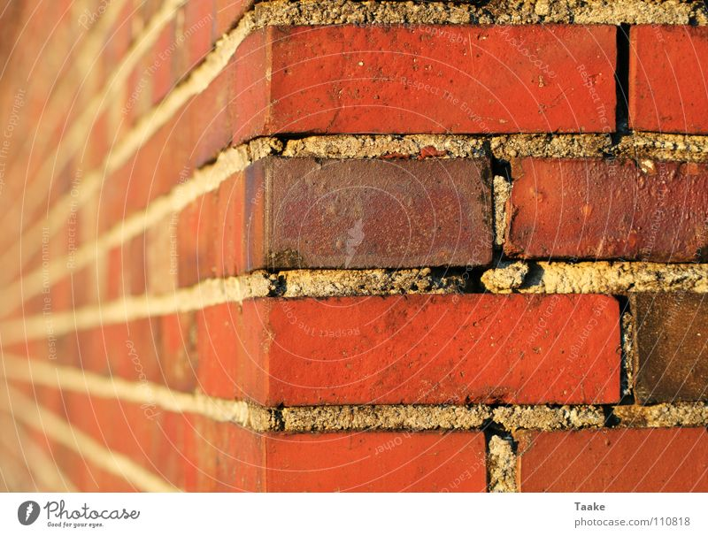 Red Colour Stone Wall (barrier) Building Perspective Corner Brick Mortar Cement