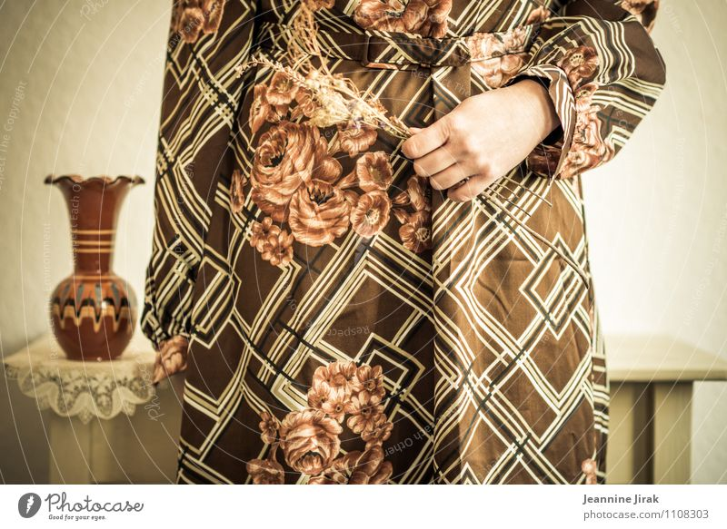 Human being Woman Youth (Young adults) Hand 18 - 30 years Adults Feminine Brown Fashion Contentment Stand Arm Idea Dress Kitsch To hold on