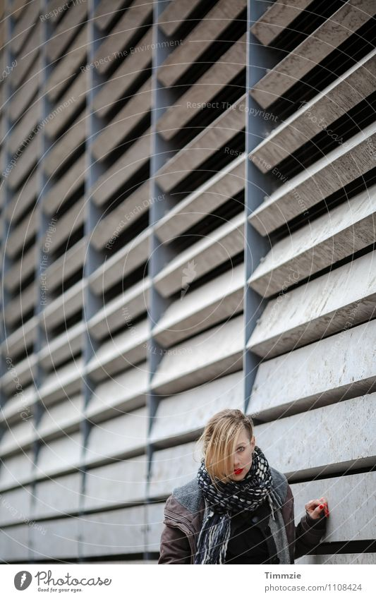 few shades of grey Lipstick Young woman Youth (Young adults) 1 Human being Industrial plant Architecture Wall (barrier) Wall (building) Facade Concrete Esthetic