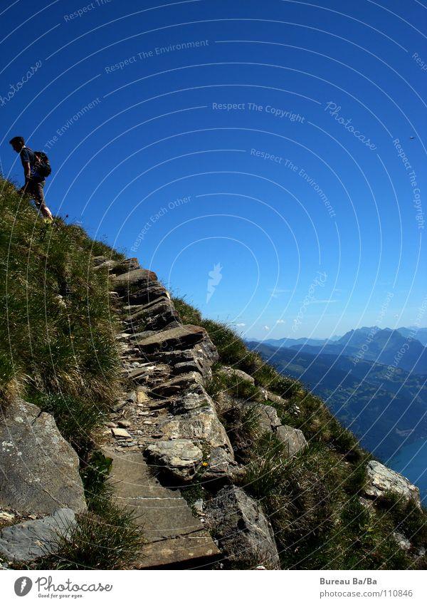Sky Blue Street Mountain Lanes & trails Lake Hiking Vantage point Switzerland Point Peak Footpath Mountaineering Bernese Oberland Mount Niesen
