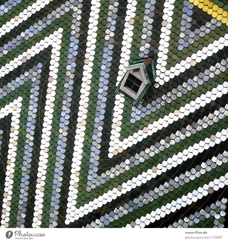 roof triangle Vienna Brick Roof Multicoloured Roofing tile Triangle White Green Yellow Skylight Dormer Pattern Stripe Design Austria House of worship Detail