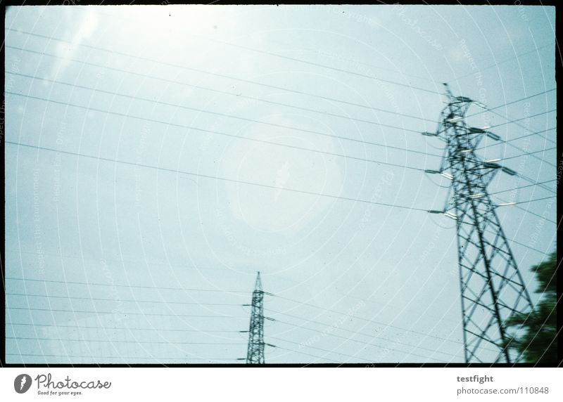 Sky Sun Blue Street Bright Industry Electricity Cable Highway Beautiful weather Grainy View from a window