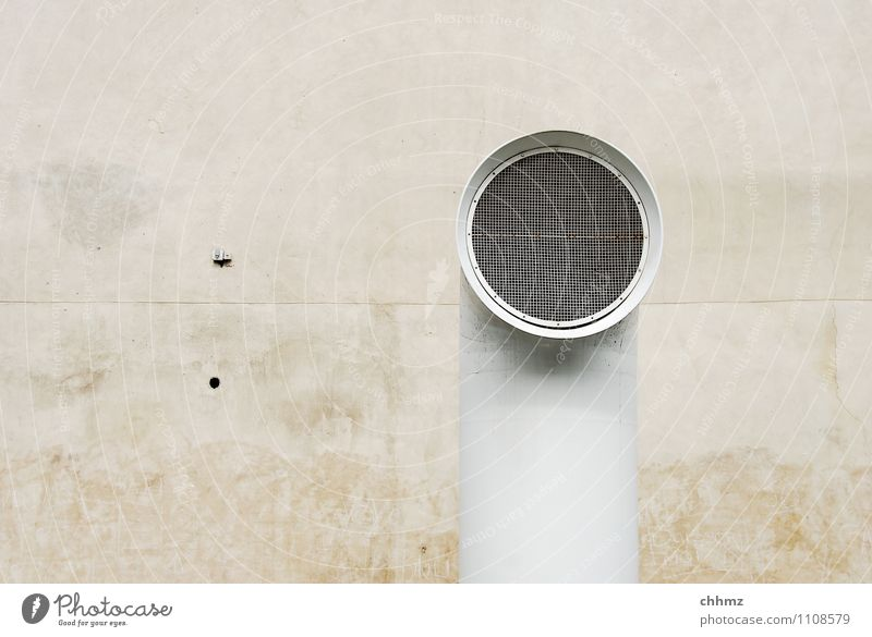 solo Wall (barrier) Wall (building) Facade Brown White Pipe Iron-pipe Outlet air supply air Ventilation Plastered Seam Dirty Grating Metal grid Round Loneliness